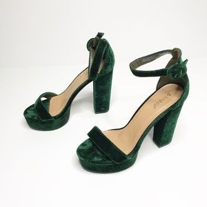 BAMBOO | Green Velvet Ankle Strap Heels